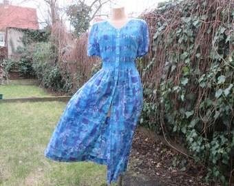 Gorgeous Dress Vintage / Size UK14 / 16 / EUR42 / 44 / Cotton / Viscose / Buttoned