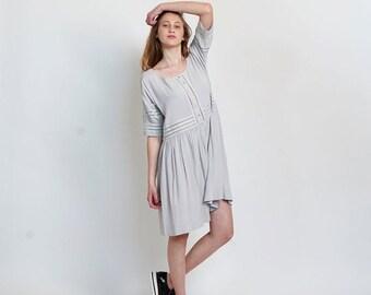 Final Summer Sale Placket Eyelet midi dress ,Silver.