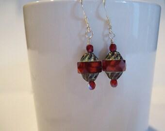 Red Czech Glass Turbine Bead Earrings