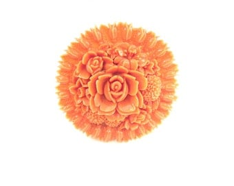 Coral Flower Brooch. Salmon Pink Celluloid Roses, Dahlias, Daffodil, Lily of the Valley. Vintage 1930s Art Deco Jewelry