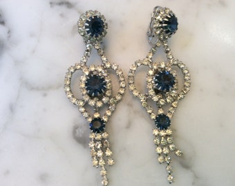 Vintage long Rhinestone and Blue Sapphire Chandelier Clip On Earrings