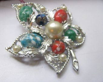 SARAH COVENTRY marbled foiled murano glass silver leaf brooch - LARGE