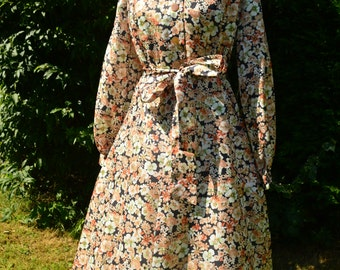 70s autumnal tones floral midi dress with balloon sleeves size M/L