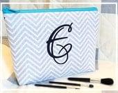 Monogram Makeup Bag Gray Chevron Bridesmaid Maid of Honor Gift Personalized Medium Wet Bag Open Wide Zippered Cosmetic Bag Graduation Gift
