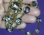 Sautoir LONG 58 inches Vintage Antique Art Deco Flapper Era Necklace Murano Wedding Cake Glass Beads