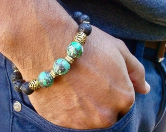 Men's Spiritual Healing, Courage, Patience Bracelet with Semi Precious Green Howlite, Lava, Bronze, Carved Wood - Bohemian Man Bracelet