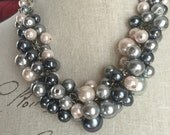Dark gray pewter gray silver gray and blush pink cluster necklace