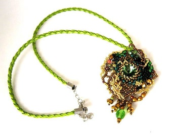 Green necklace, Green pendant, Beaded jewelry, Gifts for her, Seed bead necklace, Womens necklace  Freeform beadwork