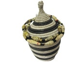 Black and White Basket, African Basket, Basket with Lid, Woven Basket, Black and White Necklace, Paper Bead Necklace, Fair Trade, Great Gift
