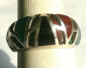 Sterling Silver Multi Stone Ring-Size 7