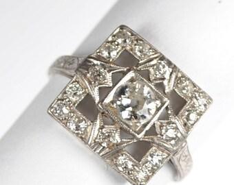 Fabulous Square Art Deco Diamond and Platinum Ring