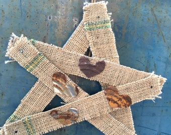 Reclaimed Wood Star-- Shutter Slat Burlap Star--Rusty Tin Heart--Primitive Star--Country Porch--Rustic Farmhouse--Recycled Salvaged Art
