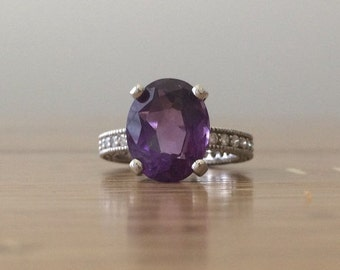 HUGESALE Amethyst Ring - White Gold Amethyst Ring - Diamond Amethyst Ring - February Birthstone Ring - Large Gemstone Ring