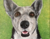 11x14 custom dog portrait on canvas from photo oil and acrylic original valentine's day gift