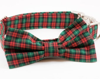 Holiday Cheer Christmas Plaid Bow Tie Dog Collar, Holiday Dog Collar, Bowtie Dog Collar, Red Dog Collar, Fall , Scottish, Flannel, Christmas