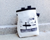 SURFER 1.. handcarved, blockprinted, rock climbing chalk bag..ready to ship.