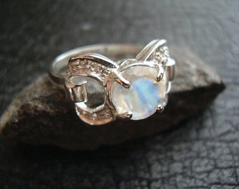 Haute Moon - Genuine Rainbow Moonstone & White Sapphire Ring - Alternative Engagement Ring - Sterling Silver Ring - OOAK One Of A Kind