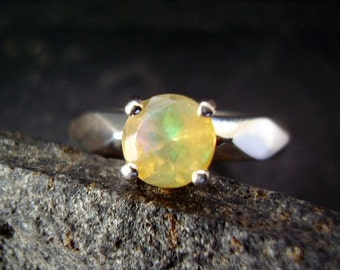October's Queen - Genuine Ethiopian Opal Solitaire Engagement Ring - 925 Sterling Silver Ring - Nontraditional Ring - Unique Wedding Ring
