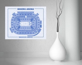 Stadium blueprints etsy vintage vancouver canucks rogers arena on photo paper matte paper or canvas sports stadium tickets malvernweather Choice Image