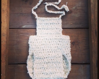 Newborn crochet soft and fluffy boucle knit romper, overalls. Great photo prop. UK seller