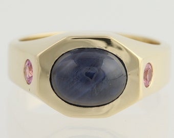 Natural Star Sapphire & Pink Sapphire Ring - 14k Yellow Gold Genuine 4.11ctw l7478