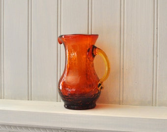 Vintage Glass Small Pitcher - Crackled Glass - With Handle - Spout - Amber