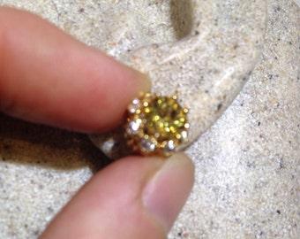 Vintage Genuine Citrine Gemstone 925 Sterling Silver Star Stud earrings