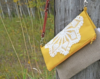Mustard Fold Over Cross Body Bag with Adjustable Strap