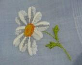 Vintage  hankie Hanky embroidered petit point flower