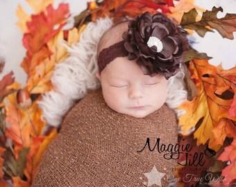 Infant headband, baby headband, brown headband, headband, elastic headband, newborn headband, baby girl, newborn girl, headband infant, lace