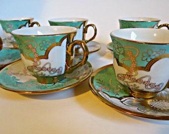 6 Demitasse Teacups and Saucers Gold Gilt Green Tea Cup and Saucer Teacup Expresso