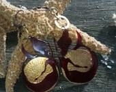 Brass  dangle Mermaid Earrings. Valentines Day EARRINGS. Red Lazer cut mermaids/Little mermaid