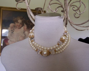 VTG 1960 MINT Large Triple Big Faux Pearl Choker ESTATE Jewelry,Wedding Necklace