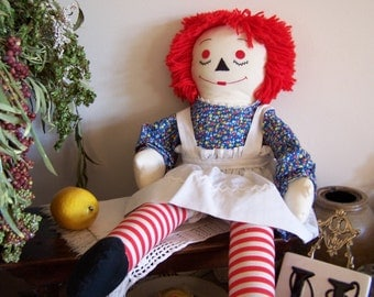 Old 1969 Handmade Raggedy Ann Doll , Large 24 in. EXCELLENT Vintage - Only Collected