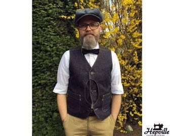 Bespoke Selvedge Denim Sportsman Outdoor Half Moon Hunting Vest
