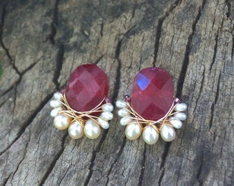 Large ruby ropada stud earrings - cluster earrings - wire wrapped cluster studs earrings