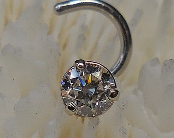 CANADIAN DIAMOND, PLATINUM, 3.5mm, diamond nose jewelry, nose jewelry, platinum nose jewelry, nose stud, diamond nose, nose ring, nose screw