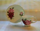 RESERVED - TEACUP, Vintage DELPHINE, Red and Pink Roses, Bone China Teacup