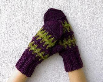 Knit Wool Mittens  Womens Mittens Knitted Mittens, Natural Wool Gloves  Winter Mittens Handmade wool mittens