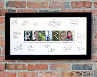RETIREMENT PARTY Signing Print with Free Personalized Text, FRAMED alphabet photography sign, photo art, bon voyage, retiree