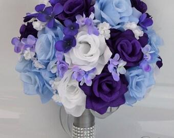 """17 Piece Package Bridal Wedding Bouquets Silk Flowers Bride Party Bouquet Decoration Centerpieces PURPLE BLUE WHITE """"Lily of Angeles"""" BLPU01"""