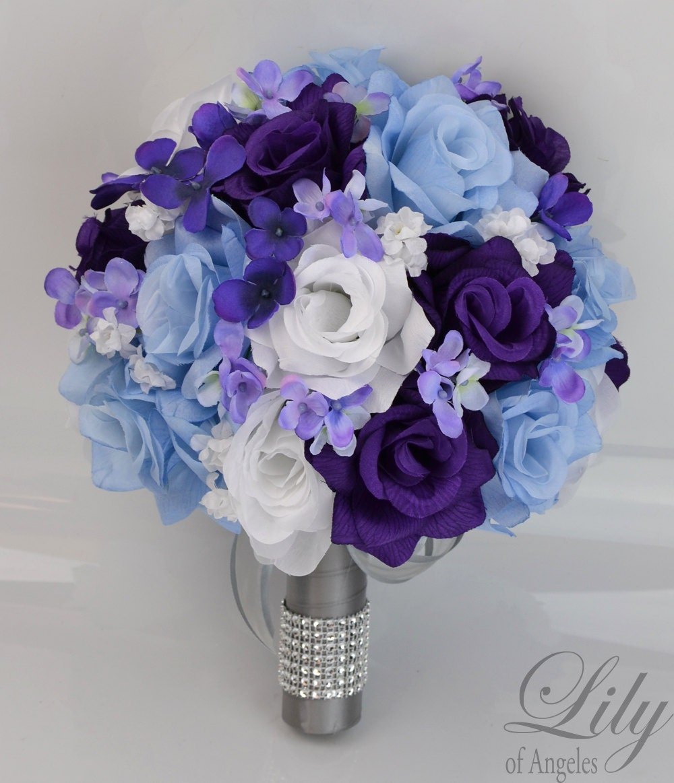 White Wedding Flowers Centerpieces: 17 Piece Package Bridal Wedding Bouquets Silk Flowers Bride
