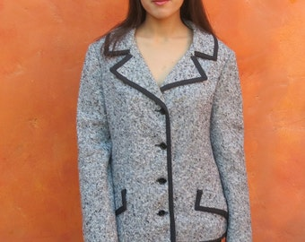 Vintage 1950s 1960s women's Black White Tweed Fitted Coat Jacket Blazer. Jane Justin. Large