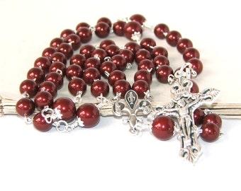Burgundy Pearl Catholic Rosary, Swarovski Pearls, 5 Decade Rosary