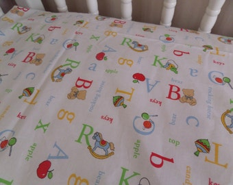 ABC Learning Alphabet Letters . Baby CRIB or TODDLER Bed . Fitted Sheet - sewn by me