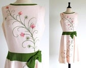 Vintage Pink 60s Dress, Sleeveless  Flower Frock, Cover Girl, Free shipping