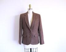 Vintage Harris Tweed Jacket, Women's Wool Blazer, Brown Tweed Jacket, Scottish Wool Coat