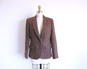 Vintage Harris Tweed Jacket, Women's Wool Blazer, Brown Tweed Jacket, Scottish Wool Coat