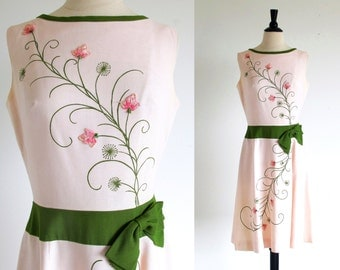 Vintage Pink 60s Dress, Sleeveless  Flower Frock, Cover Girl