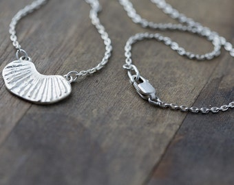 Handmade Sterling Silver Necklace, Shell Impression, Simple Necklace, Gift for Women, Gift for Her, Handmade Jewelry Gift